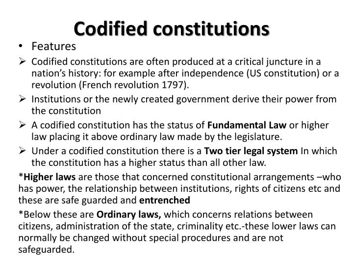 Codified constitutions