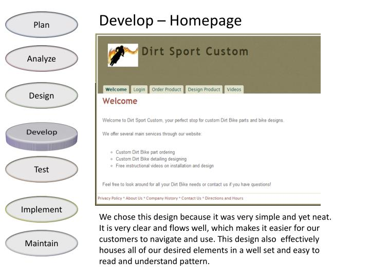 Develop – Homepage