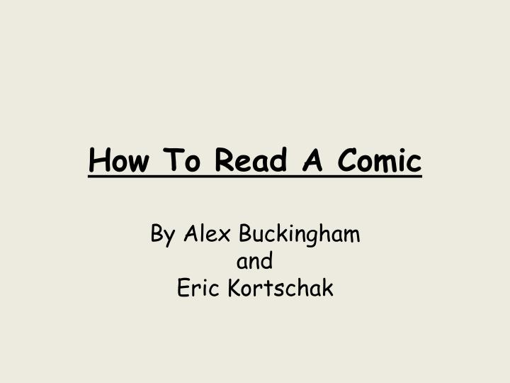 how to read a comic n.