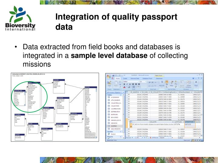 Integration of quality passport data