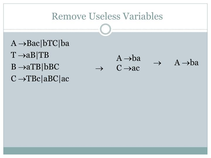 Remove Useless Variables