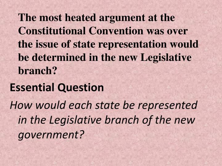 The most heated argument at the Constitutional Convention was over the issue of state representation would be determined in the new Legislative branch?