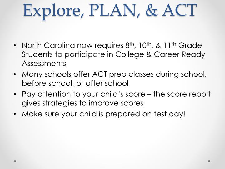 Explore, PLAN, & ACT