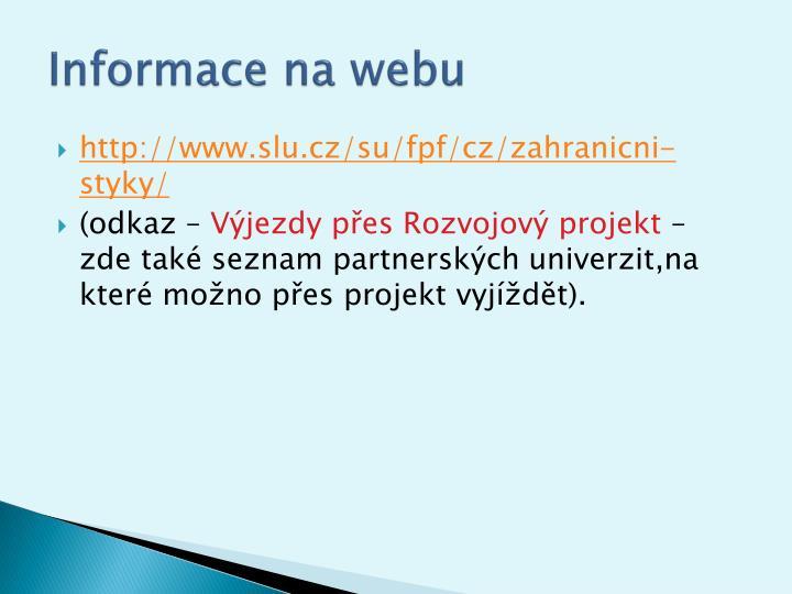 Informace na webu