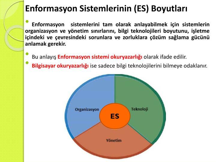 Enformasyon Sistemlerinin (ES) Boyutları