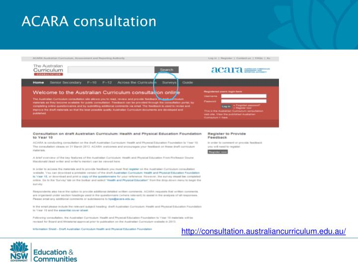 ACARA consultation