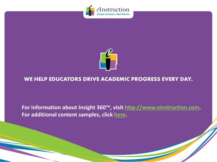 For information about Insight 360™