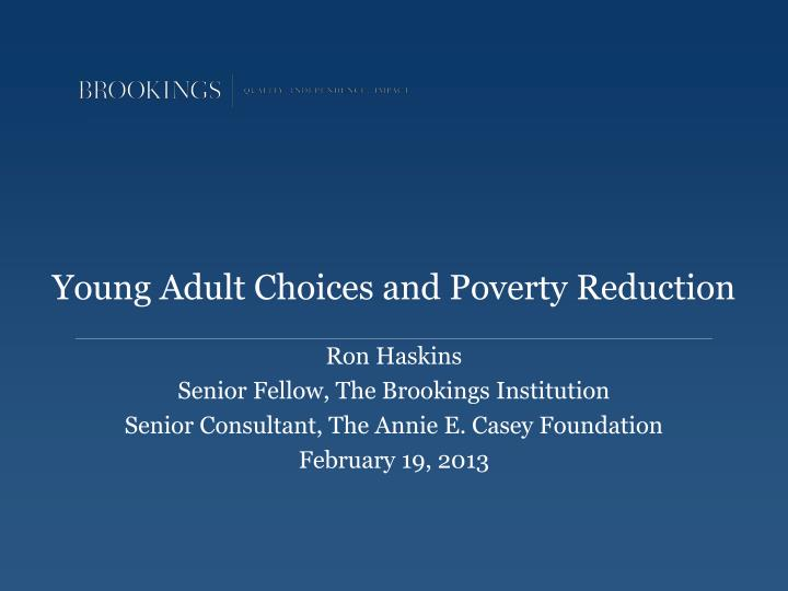 young adult choices and poverty reduction n.