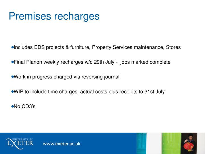 Premises recharges