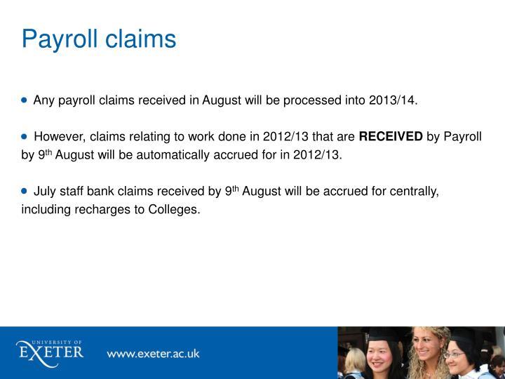 Payroll claims