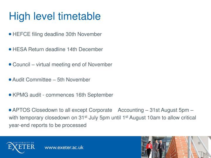 High level timetable