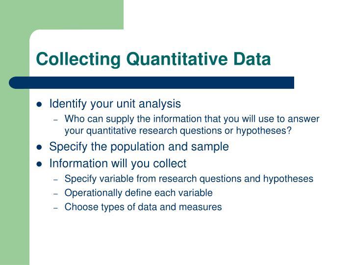 Collecting Quantitative Data