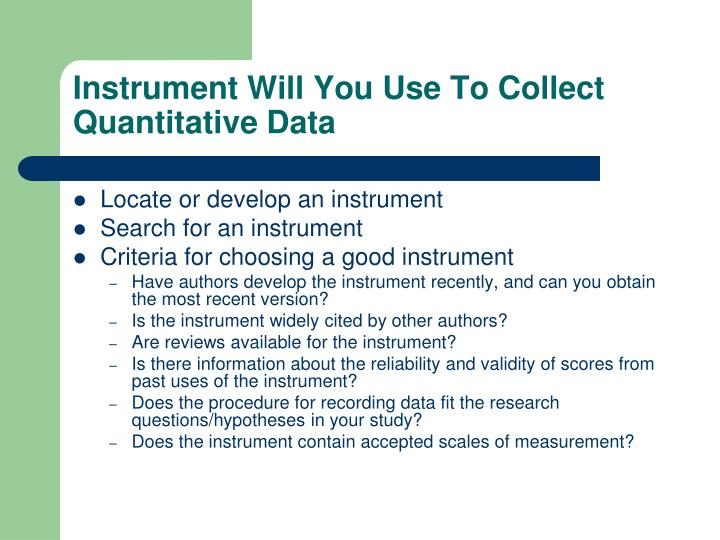 Instrument Will You Use To Collect Quantitative Data