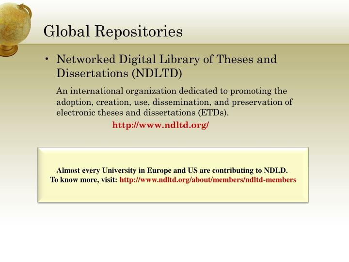 ndltd thesis The ndltd (networked digital library of theses and dissertations) is an international consortium dedicated to improving graduate education by promoting digital libraries of electronic theses and dissertations.