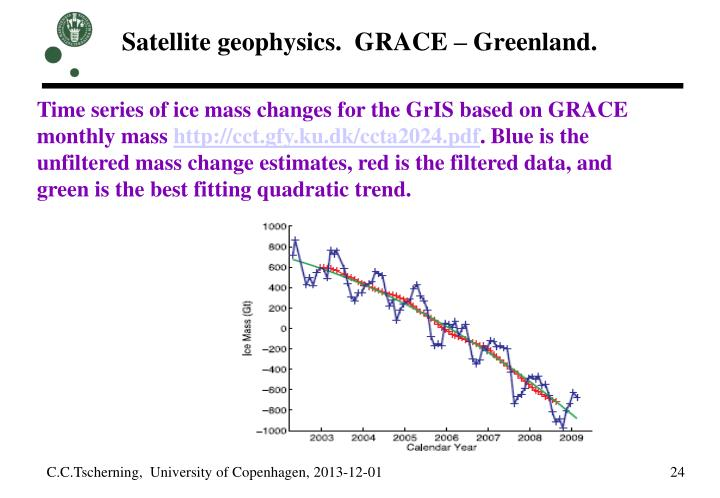 Satellite geophysics.  GRACE – Greenland.