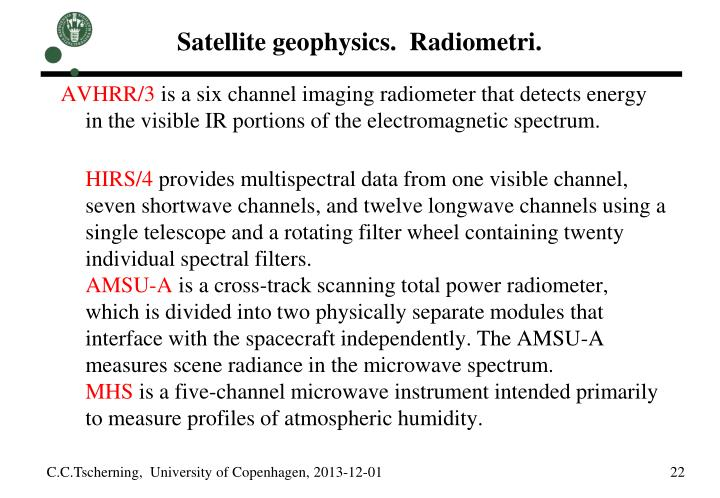 Satellite geophysics.  Radiometri.