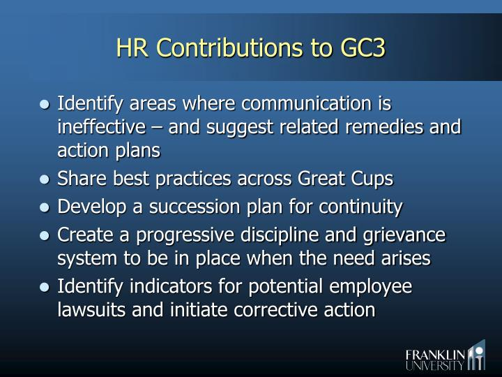 HR Contributions to GC3