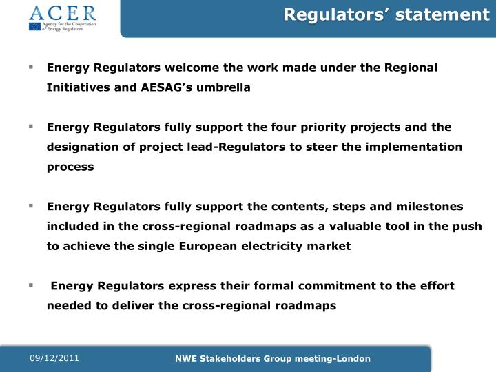 Regulators' statement