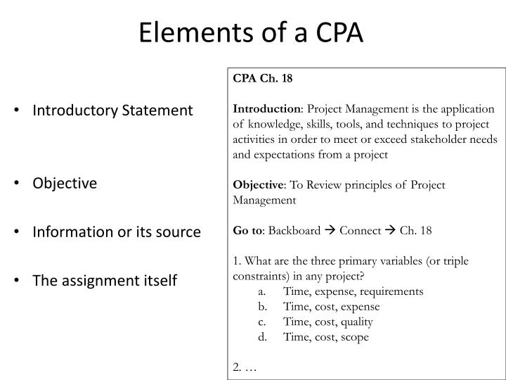 Elements of a CPA