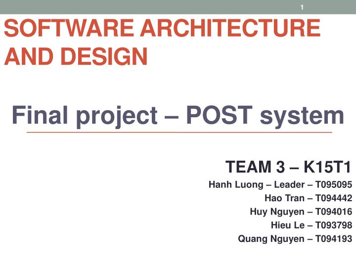 software architecture and design n.