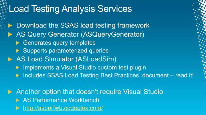 Load Testing Analysis Services