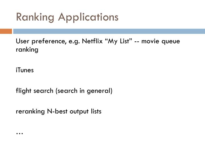 Ranking Applications