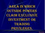 area in which outside powers claim exclusive investment or trading privileges