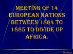 meeting of 14 european nations between 1884 to 1885 to divide up africa