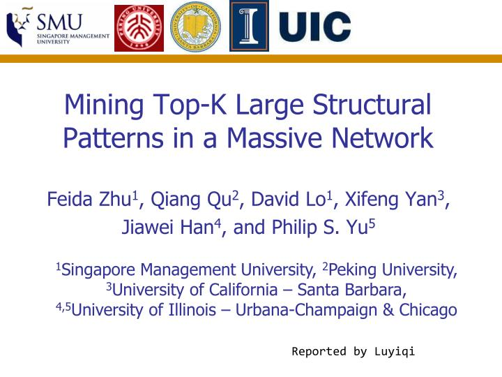mining top k large structural patterns in a massive network n.