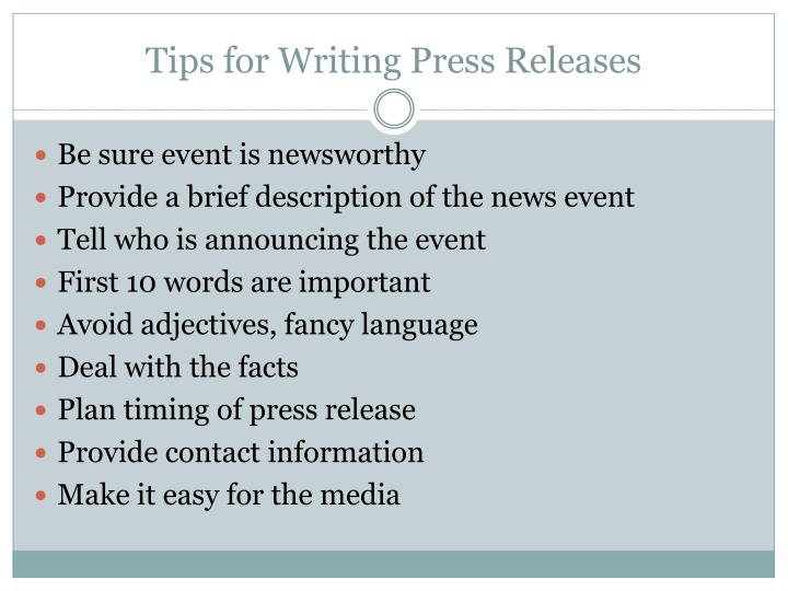 Tips for Writing Press Releases