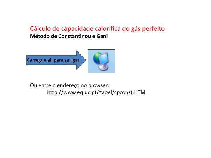 Cálculo de capacidade calorífica do gás perfeito