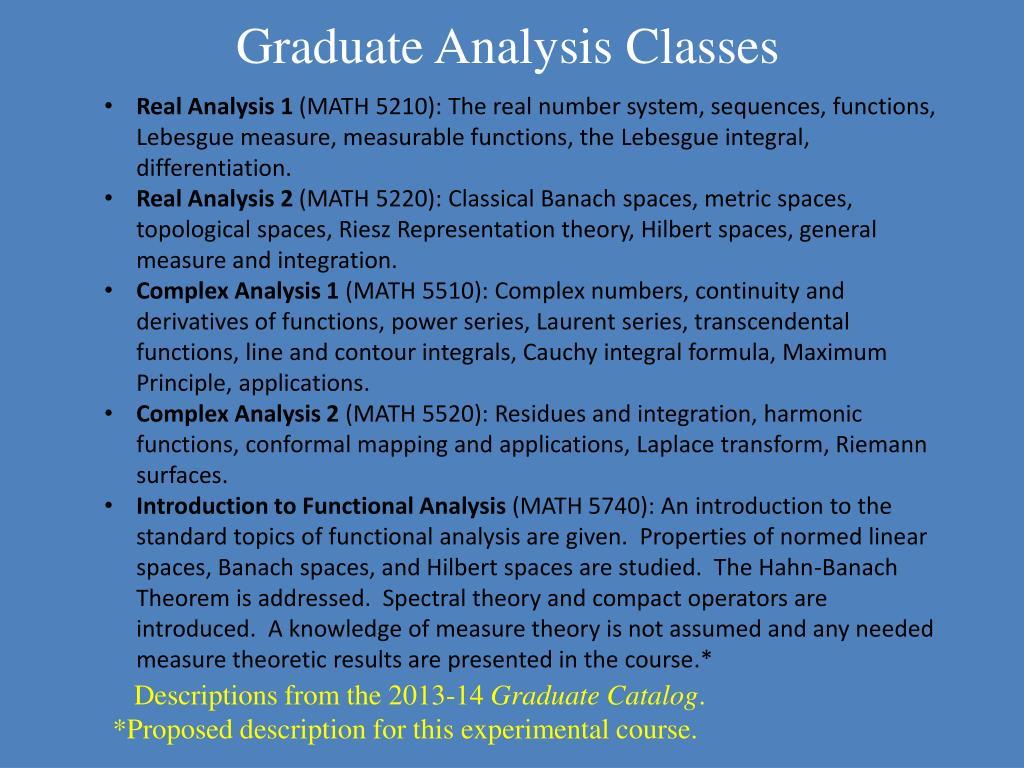 PPT - The ETSU Analysis Program: Graduate and Undergraduate