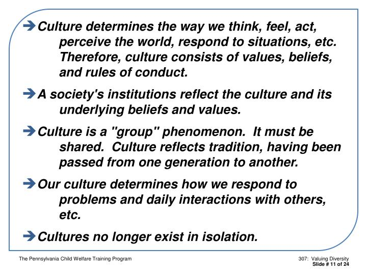 Culture determines the way we think, feel, act, 			perceive the world, respond to situations, etc.  			Therefore, culture consists of values, beliefs, 			and rules of conduct.
