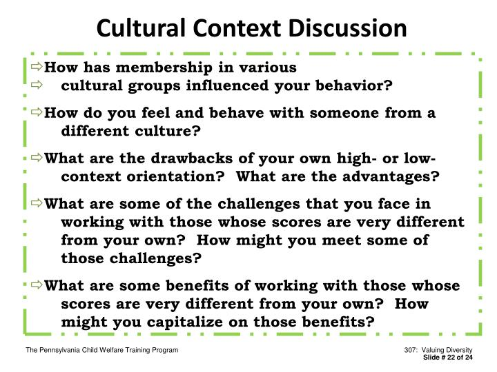 Cultural Context Discussion