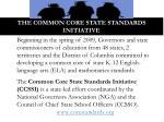the common core state standards initiative