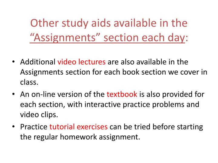 Other study aids available in the