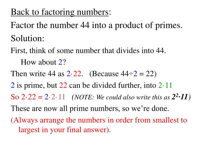 Back to factoring numbers