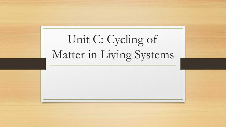 unit c cycling of matter in living systems