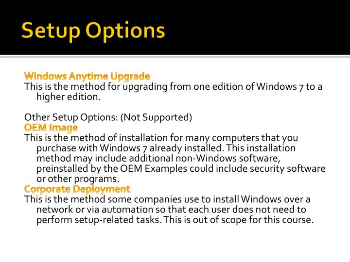 Setup Options