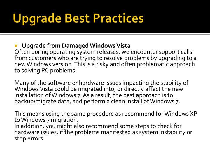 Upgrade Best Practices