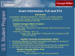 grant information full and eta