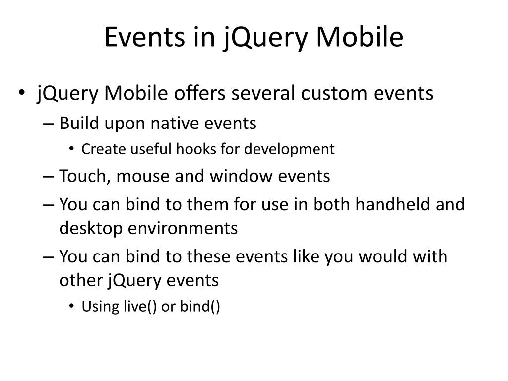 PPT - jQuery Mobile PowerPoint Presentation - ID:6517297