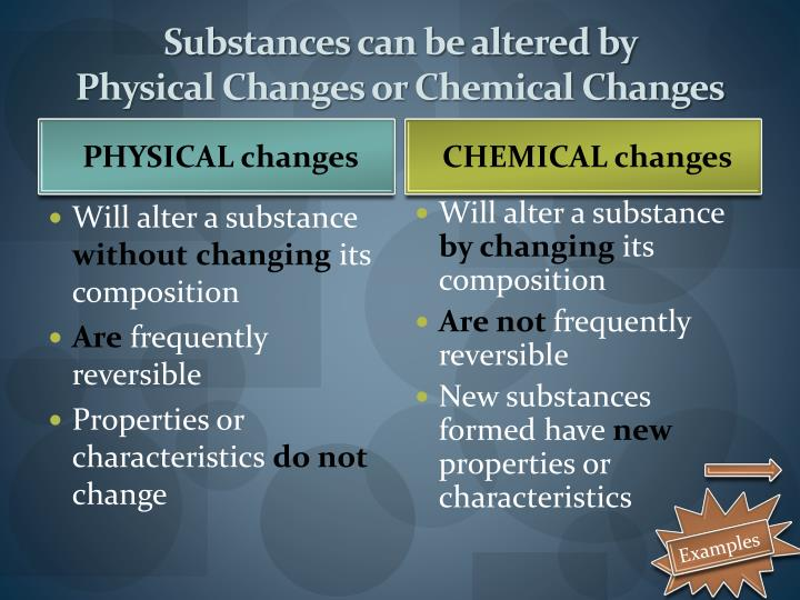 Substances can be altered by