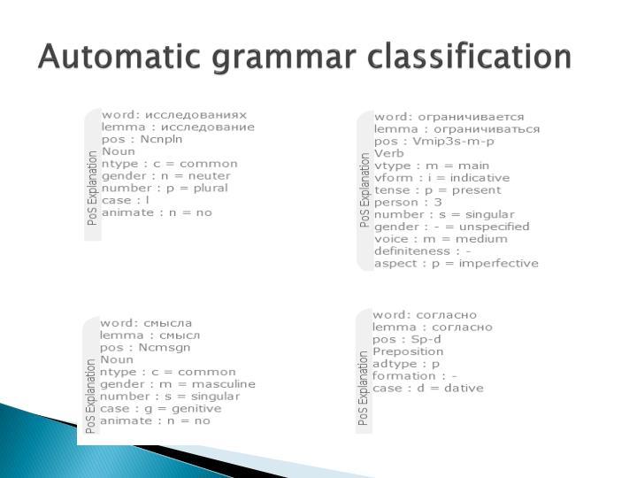 Automatic grammar classification