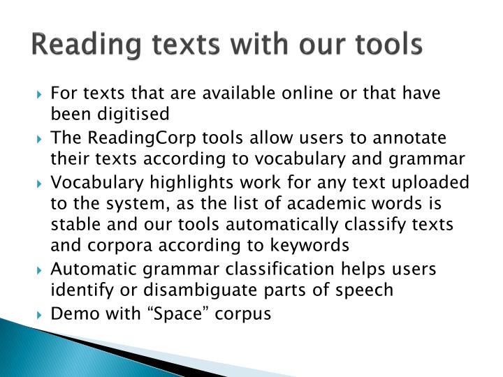 Reading texts with our tools