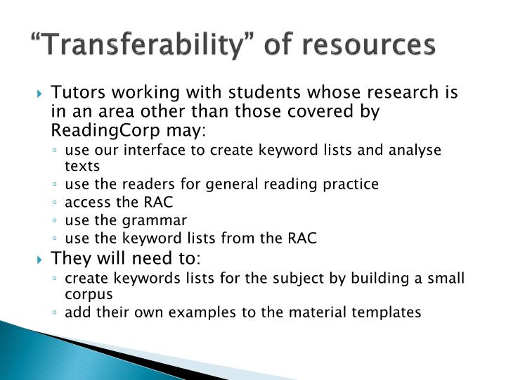 """""""Transferability"""" of resources"""