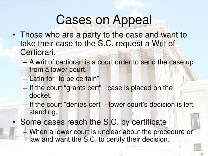 Cases on Appeal