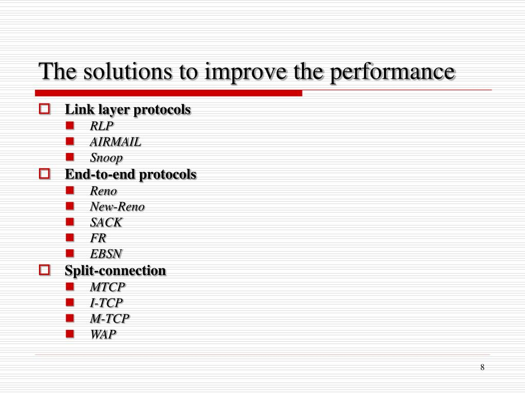 PPT - Improving TCP Performance over Mobile Networks