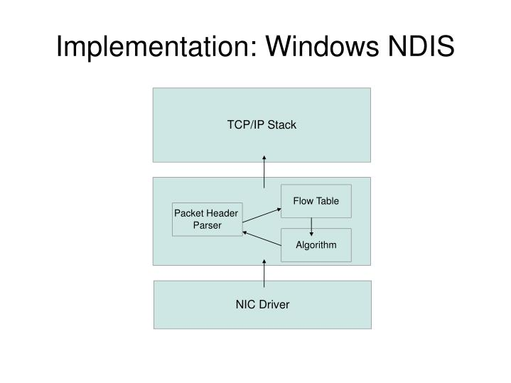 Implementation: Windows NDIS