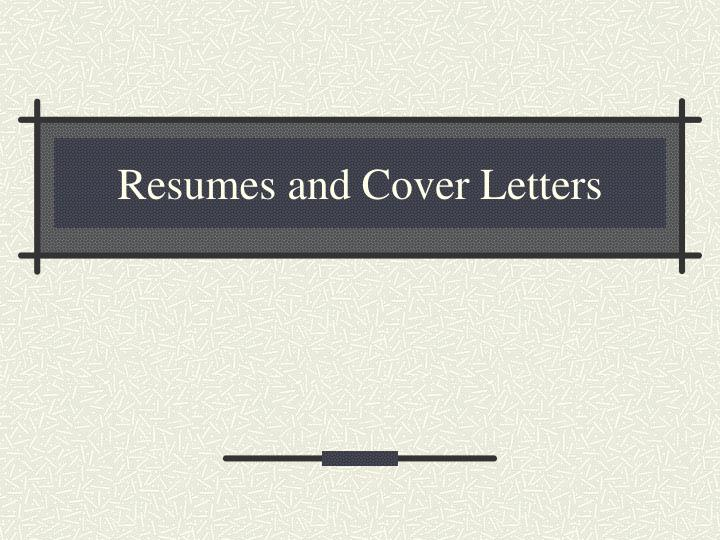 resumes and cover letters n.
